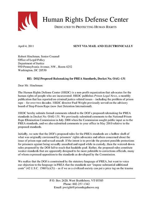 HRDC comments on PREA standards April 2011 | Prison Legal News