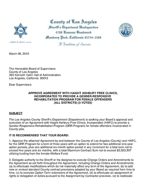 La County Agreement With Haight Ashbury Clinics to Provide