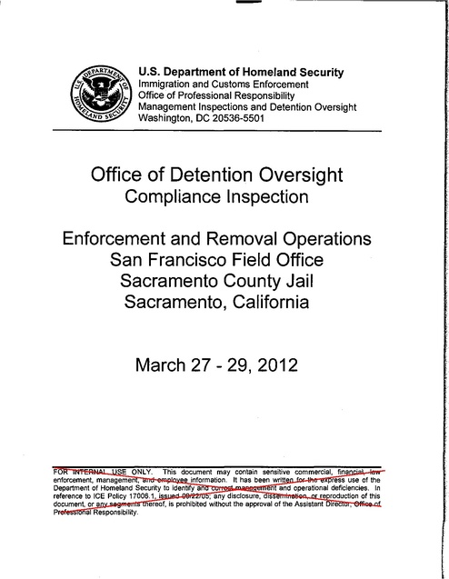 ICE Detention Standards Compliance Audit - Sacramento County Jail ...