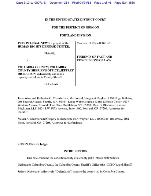 Prison Legal News v. Columbia County, Findings of Fact re ...