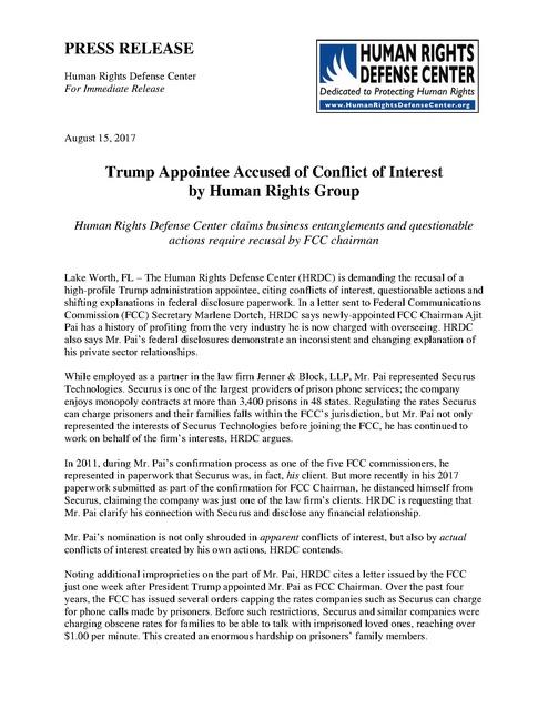 HRDC files conflict of interest comment re FCC Chairman | Prison