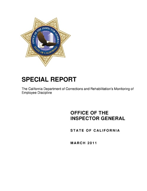 Ca Oig Report on Cdcr Monitoring of Employee Discipline 2011