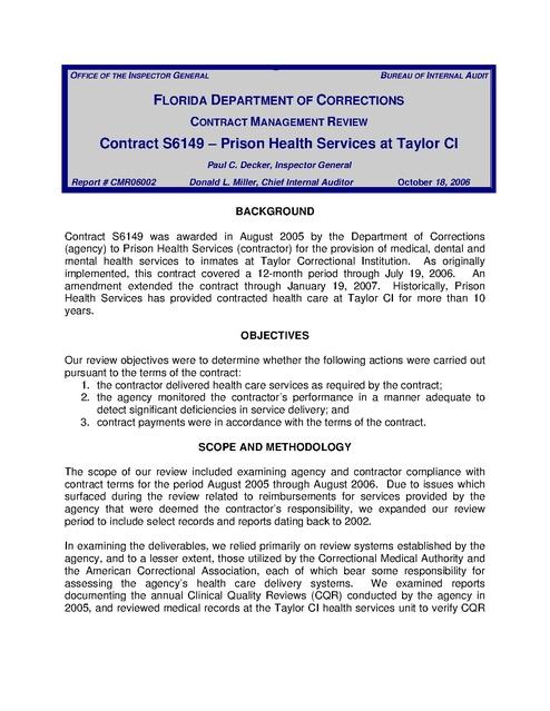 Fl Fdoc Audit Phs Medical Care Taylor Ci 2006 | Prison Legal News