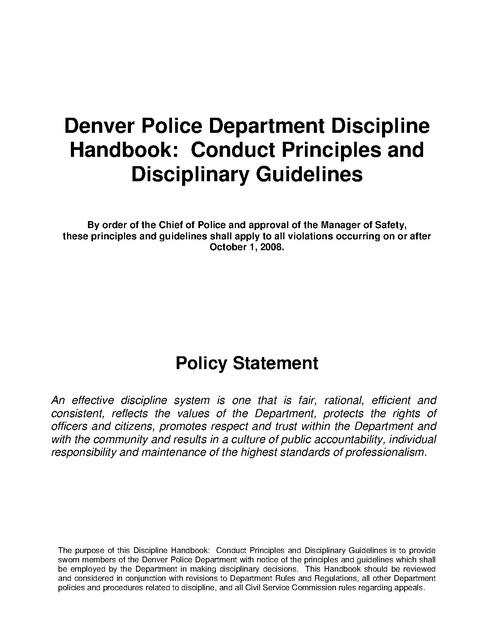 denver police department discipline handbook conduct principle and rh prisonlegalnews org Police Officer Ticket Printable Police Tickets