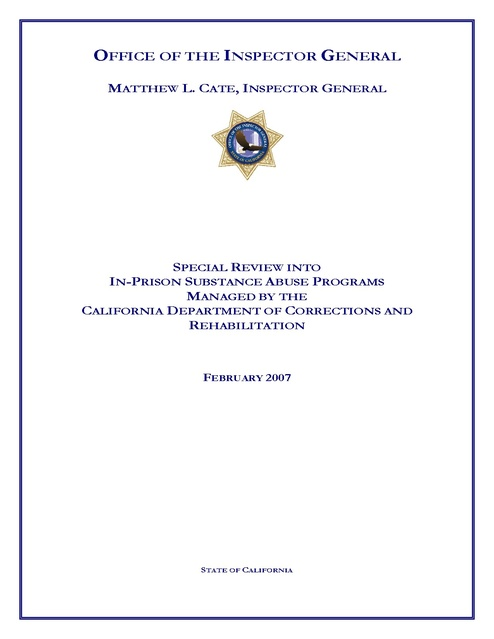 Special Review of In-Prison Substance Abuse Programs - CDCR