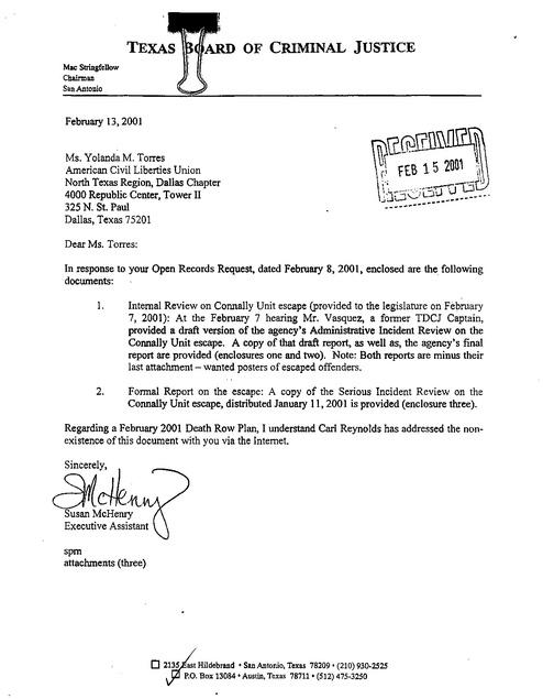 d4400f9851e Tx Board of Criminal Review Connally Unit Prison Escape 2001 ...