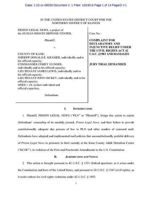 Prison Legal News v  County of Kane, IL, Complaint, Kane
