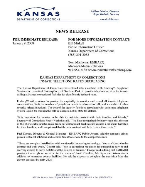 Ks Prison Phone Contracts Embarq Rates Press Release 2008