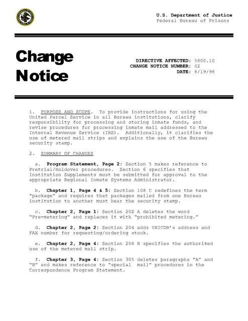 Bop Change Notice Inmate Mail 1998 Prison Legal News