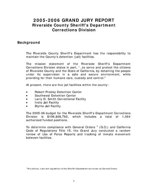 Riverside Co Jail- Ca - Grand Jury Report 2006 | Prison