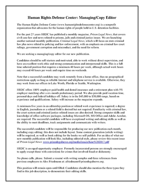 Hrdc Editor Job Description Final   Prison Legal News
