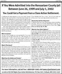 Bruce v  County of Rensselaer, Ny, Settlement Notice, Strip