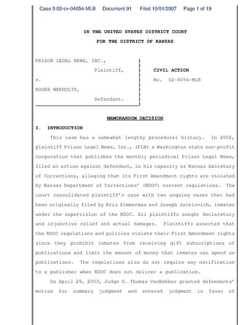 Prison Legal News v. Werholtz, Judgement on Remand, Kansas DOC ...