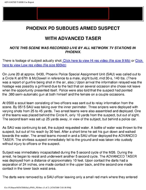 Taser Phoenix Pd Subdues Armed Subj | Prison Legal News