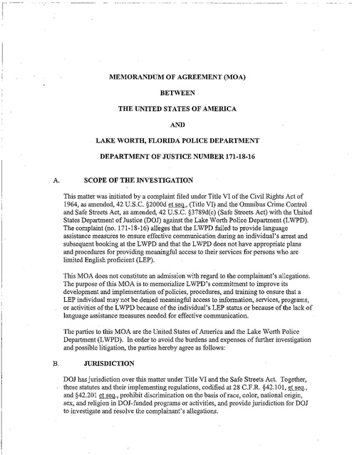 Cripa Lake Worth Fl Pd Memo of Agreement 3-13-07 | Prison