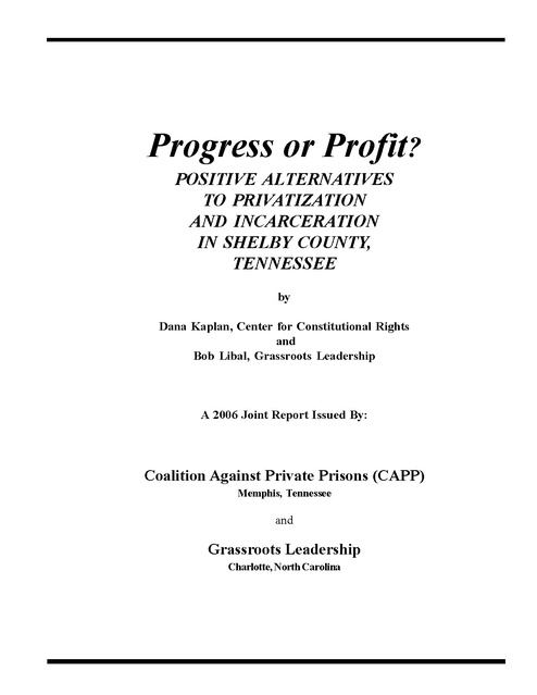 progress or profit (shelby county jail privatization report), tn doc ...