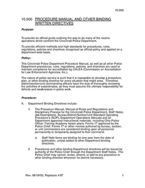 police procedures essay