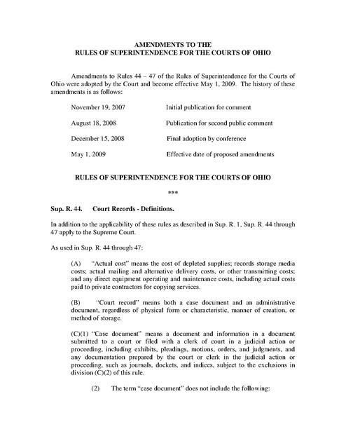 Ohio Supreme Court Rule Amendment Court Records Access 2008