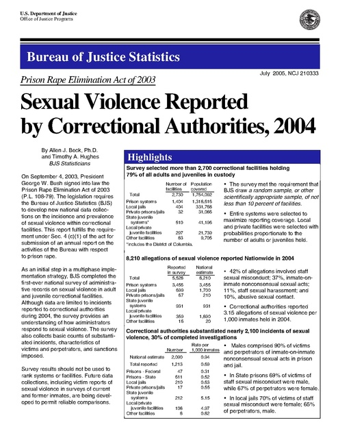 Us Doj Report on Sexual Violence Reported by Correctional Authories