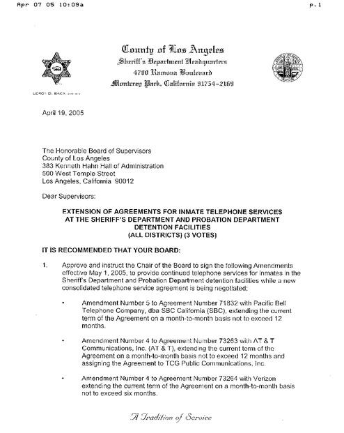 La Jail Phone Service Contract Ltr 2005 Ca Prison Legal News