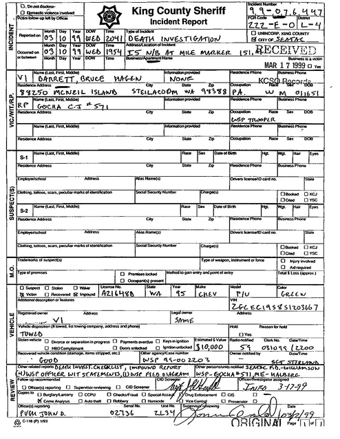 king county sheriff incident report bruce barrett death investigation 1999