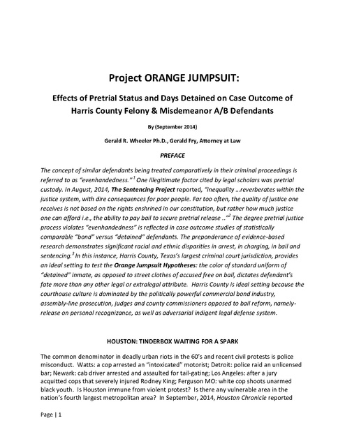 Project ORANGE JUMPSUIT: Report on Effects of Pretrial Detention ...