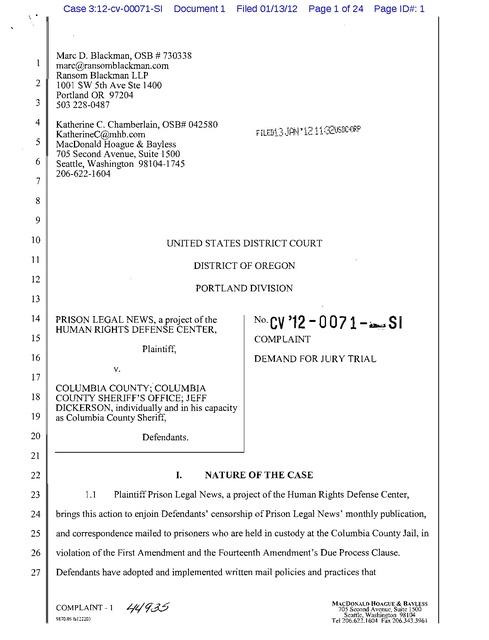 Prison Legal News v  Columbia County, Complaint 2012   Prison Legal News