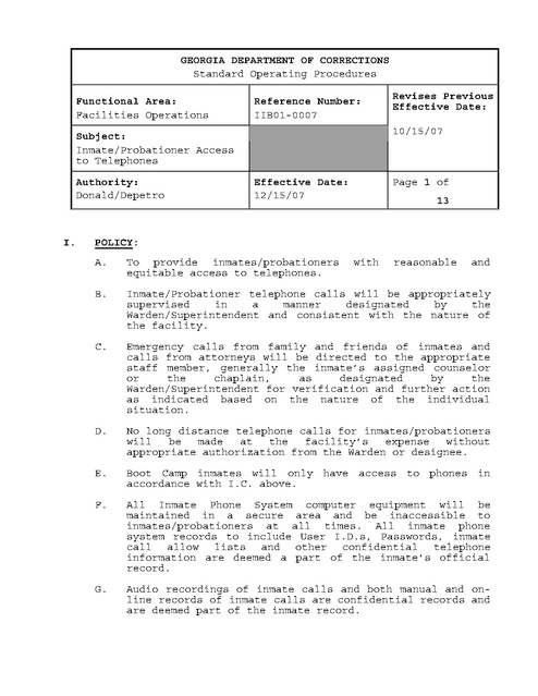 Ga Prisoner Phone Policies 2007   Prison Legal News