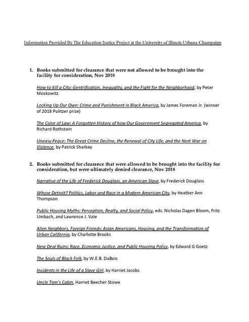Illinois Banned Books List (from Danville Correctional