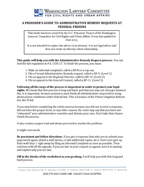 Guide To Grievance Procedure At Federal Prisons Washington Lawyers