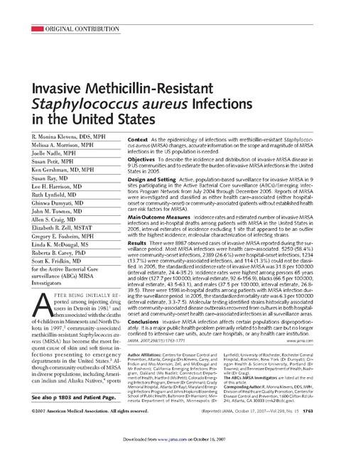 Invasive Methicillin-Resistant Staphylococcus aureus