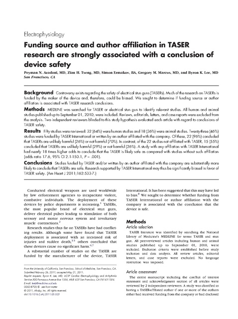 Funding bias in taser research american heart journal 2011 prison brief thumbnail publicscrutiny Choice Image