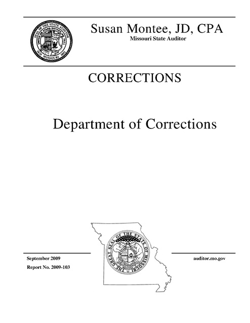 MO Department of Corrections Audit, Missouri State Auditor