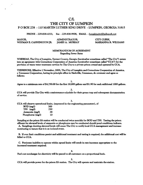 Cca Lumpkin Ga Waste Water Treatment Agreement Nov 2009 Prison