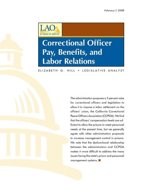 Ca Lao Report on Cdcr Guard Pay and Ccpoa Relations 2008