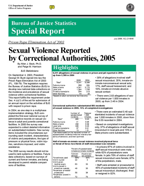 Bjs Report on Sexual Violence in Prisons 2005 | Prison Legal News