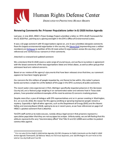 HRDC comment to EPA with 138 sign-ons, re environmental impacts on ...
