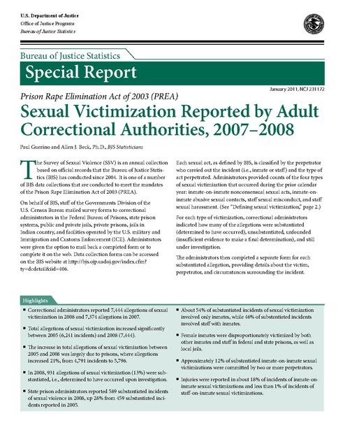 Doj Bjs Report on Sexual Assault in Prisons 2007-2008