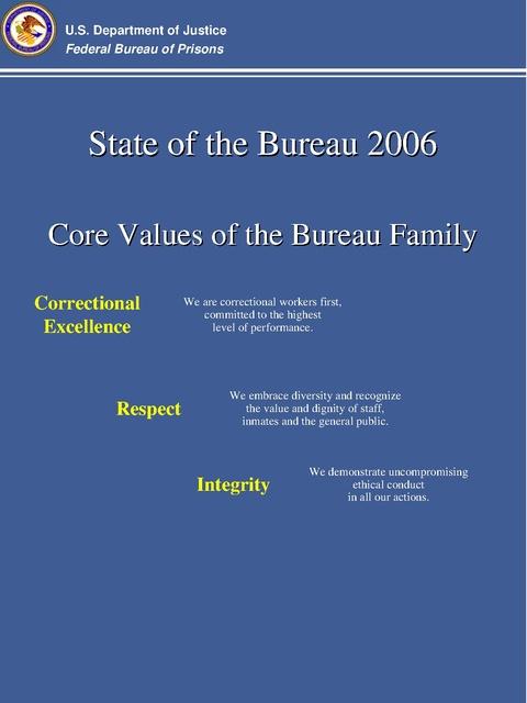 State of the Bureau - Core Values of the Bureau Family, DOJ