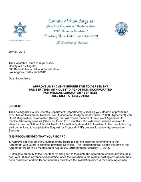 La County Amendment To Contract With Quest Medical Services 2012