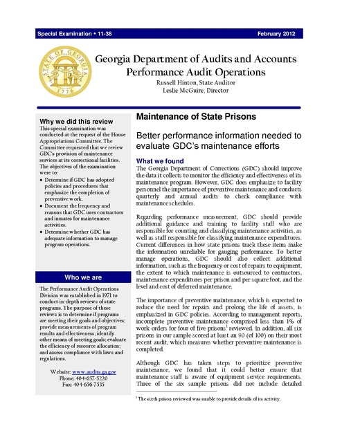 Georgia Audit Dept Report on Maintenance of State Prisons 2012