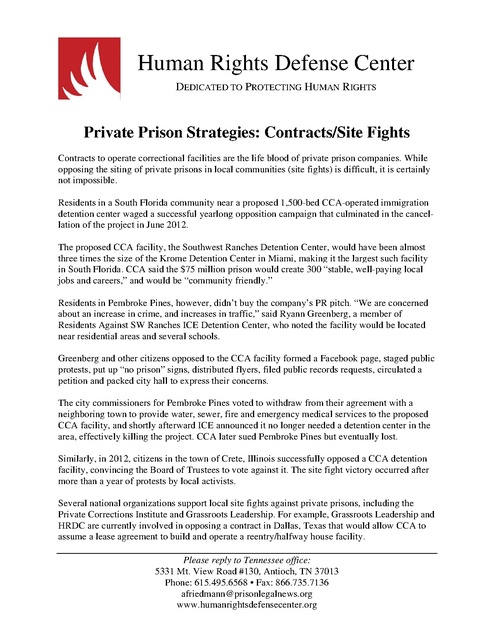 Hrdc Private Prison Fact Sheet Contracts 2015 Prison Legal News