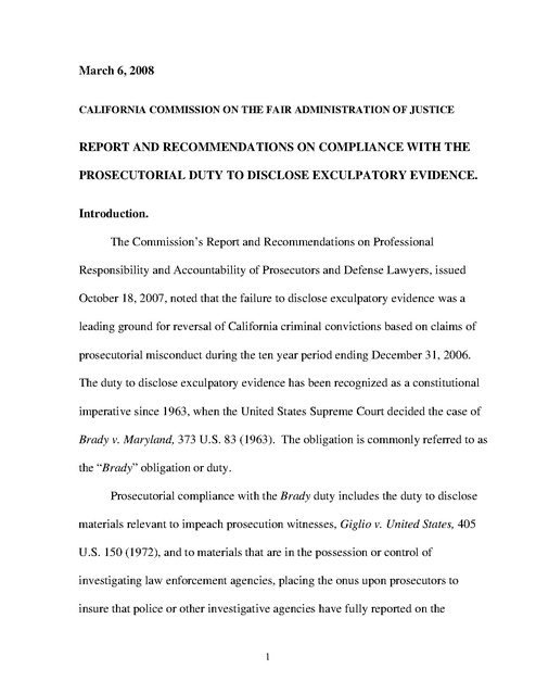 Ca Commission On Fair Administration Of Justice Exculpatory Evidence