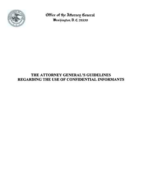 Confidential Informant Guidelines, DOJ OAG | Prison Legal News