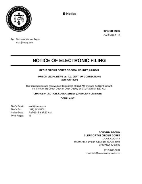 PLN v. IDOC, IL, Complaint, FOIA, 2015 | Prison Legal News