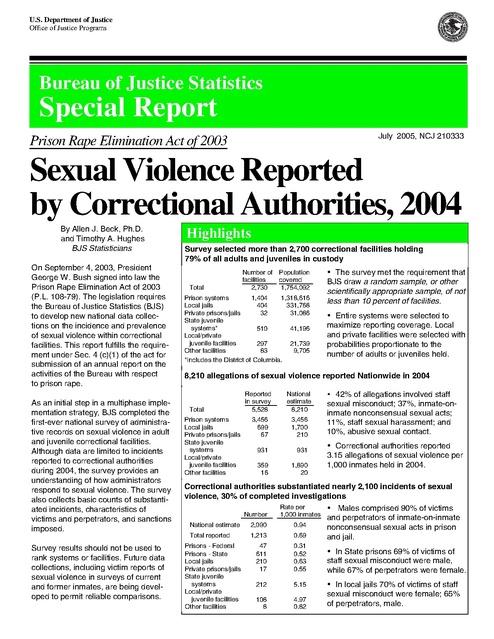 Bjs Sexual Assault in Prisons Report 2004 | Prison Legal News