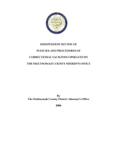 Multonomah County Jail Report, Multonomah County DA Office