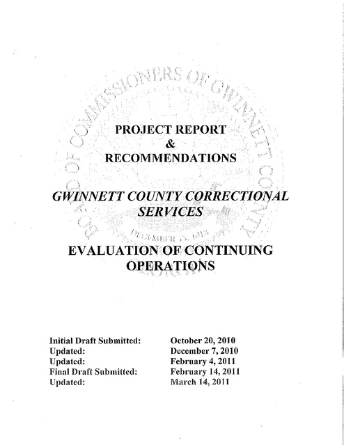 Gwinnett County Ga Board of Commissioners Report and