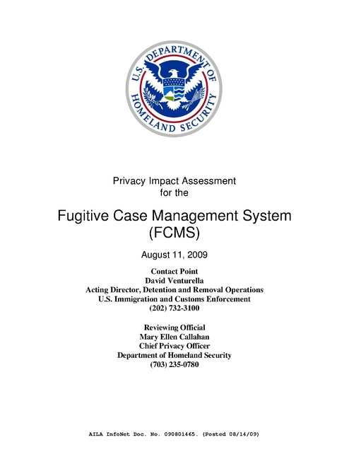 Homeland Security Privacy Impact Assessment for Fugitive Case