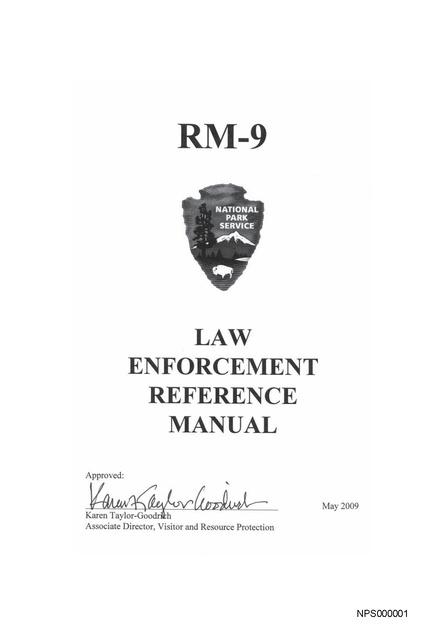 rm 9 use of force manual national park service 2009 prison legal rh prisonlegalnews org national park service reference manual 32 national park service uniform manual